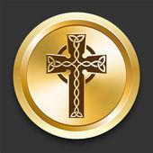 Cross on Golden Internet Button — Stock Vector