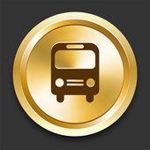 Bus on Golden Internet Button — Stock Vector