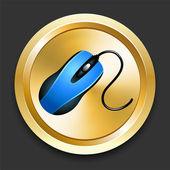 мыши на кнопку золотой интернет — Cтоковый вектор