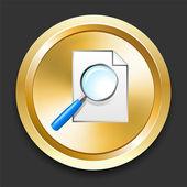увеличительное стекло на золотой интернет кнопку — Cтоковый вектор