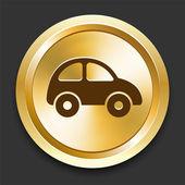 Car on Golden Internet Button — Stock Vector