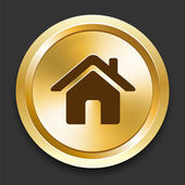 House on Golden Internet Button — Stock Vector