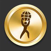 Mann hält globus goldene internet-button — Stockvektor