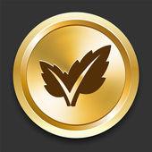 Plant on Golden Internet Button — Stock Vector