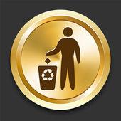 утилизировать мусор на золотой интернет кнопку — Cтоковый вектор