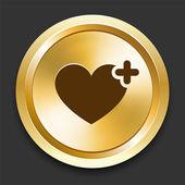 Heart Favorite on Golden Internet Button — Stock Vector