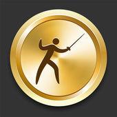 фехтование на золотой интернет кнопку — Cтоковый вектор