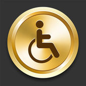 Wheelchair on Golden Internet Button — Stock Vector