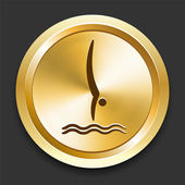 Diving on Golden Internet Button — Stock Vector