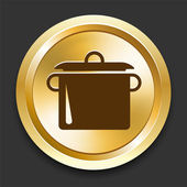 Cooking Pot on Golden Internet Button — Stock Vector