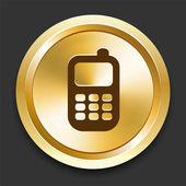 Cell Phone on Golden Internet Button — Stock Vector
