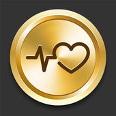 Heart Pulse on Golden Internet Button — 图库矢量图片