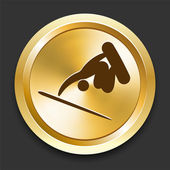 Snowboard (skateboard) on Golden Internet Button — Stock Vector