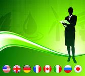 Mulher de negócios com fundo de botões de bandeira de internet — Vetorial Stock