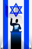 Israel flag with political speaker behind a podium — Stock Vector