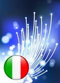 Italy Internet Button on Fiber Optic Background — Stock Vector