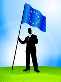 Businessman Leader Holding European Union Flag — Vettoriale Stock