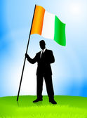 Businessman Leader Holding Ireland Flag — Vettoriale Stock