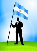 Businessman Leader Holding Argentina Flag — Vettoriale Stock