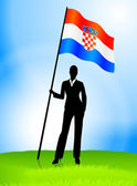 Businesswoman Leader Holding Croatia Flag — Vettoriale Stock