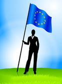 Businesswoman Leader Holding European Union Flag — Vettoriale Stock