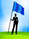 бизнес-леди лидер холдинг флаг европейского союза — Cтоковый вектор