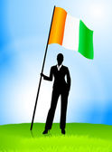 Businesswoman Leader Holding Ireland Flag — Vettoriale Stock