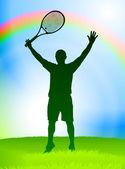 Giocatore di tennis su sfondo arcobaleno — Vettoriale Stock
