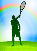 Tennis Player on Rainbow Background — Stock Vector
