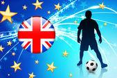 抽象的な明るい背景に英国のサッカー選手 — ストックベクタ