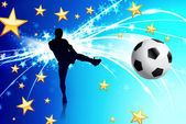 Soccer Player on Abstract Blue Light Background — Stock Vector