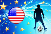 United States Soccer Player with Flag on Light Background — Vettoriale Stock