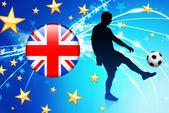 британский футбол игрок на абстрактные светлый фон — Cтоковый вектор