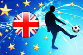 Brytyjski piłkarz na streszczenie tło światło — Wektor stockowy