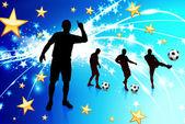 игрок soccer на абстрактных светло-синем фоне — Cтоковый вектор