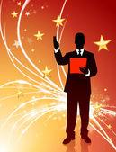 Empresario en resumen antecedentes luz estrella — Vector de stock