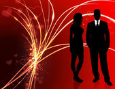 Sexy Young Couple on Abstract Valentine's Day Light Background — Wektor stockowy