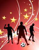 Piłkarz na streszczenie tło światło — Wektor stockowy