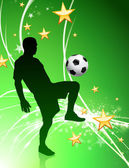 Soccer Player on Green Abstract Light Background — Stock Vector