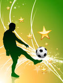 Soccer Player on Green Abstract Light Background — Stockvector