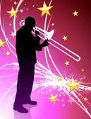 抽象光背景与星上的喇叭音乐家 — 图库矢量图片