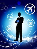 бизнесмен на абстрактных светлом фоне с иконы — Cтоковый вектор