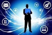 Empresário na luz de fundo abstrato com ícones — Vetorial Stock