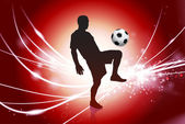 Soccer Player on Abstract Red Light Background — Stock Vector