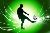 Soccer Player on Abstract Green Light Background — Stock Vector