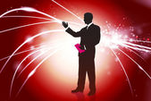 Businessman on Red Abstract Light Background — Stock Vector