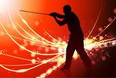 Maestro de karate con la espada en fondo claro resumen — Vector de stock