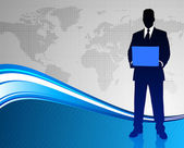 Businessman on Abstract World Map Background — Stock vektor