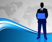Homem de negócios sobre fundo de mapa mundo abstrato — Vetorial Stock