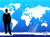Jonge zakenman op wereld kaart achtergrond — Stockvector